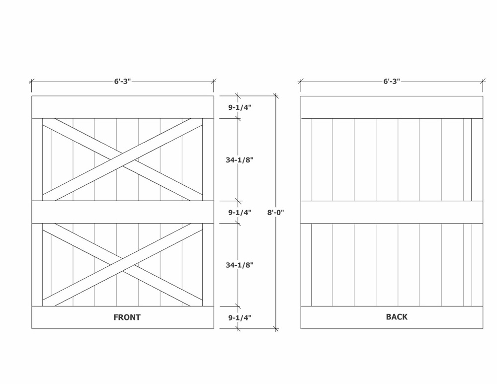 Barn door construction how to build sliding barn doors for Door dimensions