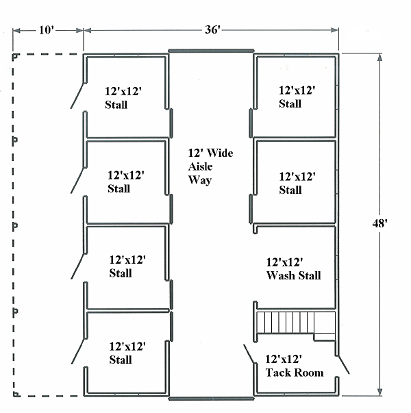 Horse barn floor plan layout tips for Barn house layouts